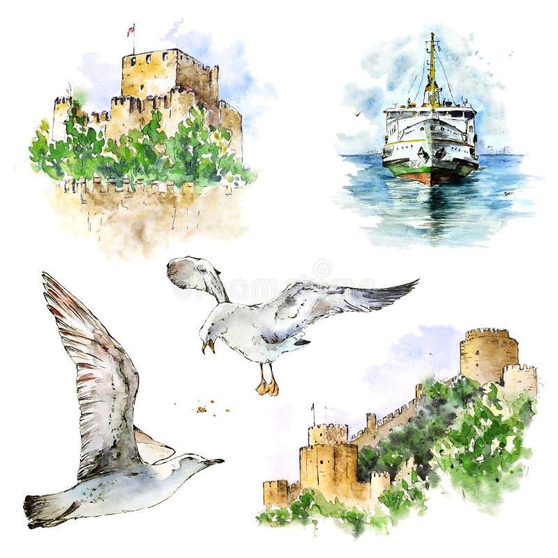 Watecolor设置了与伊斯坦布尔城堡、轮渡和海鸥 在白色隔绝的手画元素 向量例证