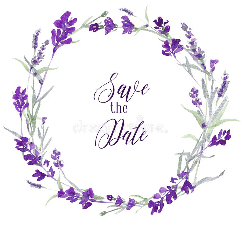 Watecolor lavender delicate floral wreath on white background with message Save the date. Blue flowers and green leaves vector illustration