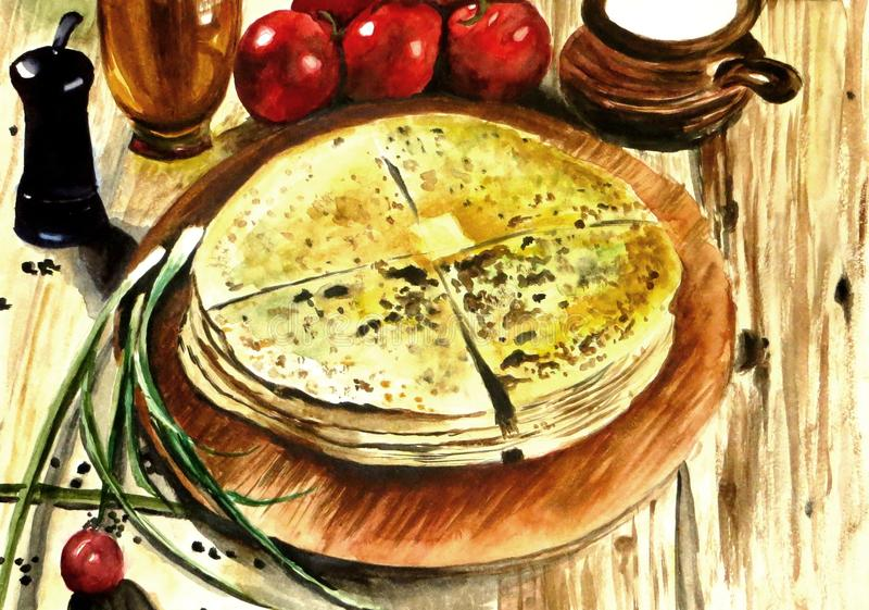 Tasty flat pies with filling from potatoes and cheese. Watecolor life-painting of food: hot baked flat pies oiled with butter with filling from potatoes and vector illustration