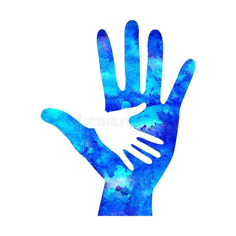Watecolor loga ilustracja Symbol dobroczynność Szyldowa ręka odizolowywająca na białym tle Błękitna ikony firma, sieć, karta obraz royalty free
