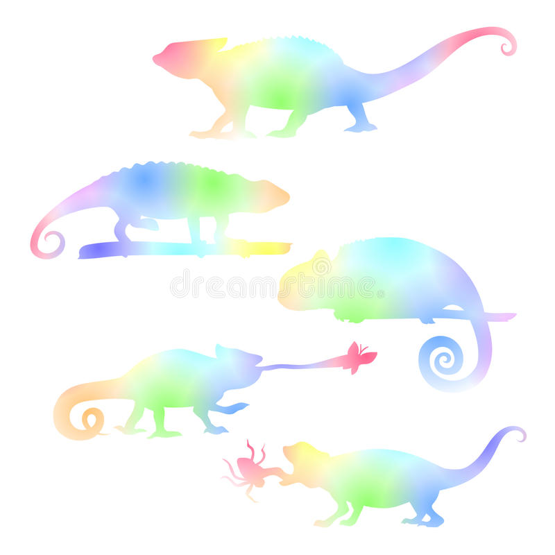Free Watecolor Set Of Chameleons. Royalty Free Stock Photos - 61329978