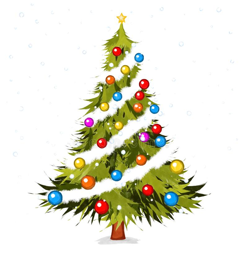 Watecolor Christmas tree. Watecolor style drawing of a Christmas tree over white background stock illustration