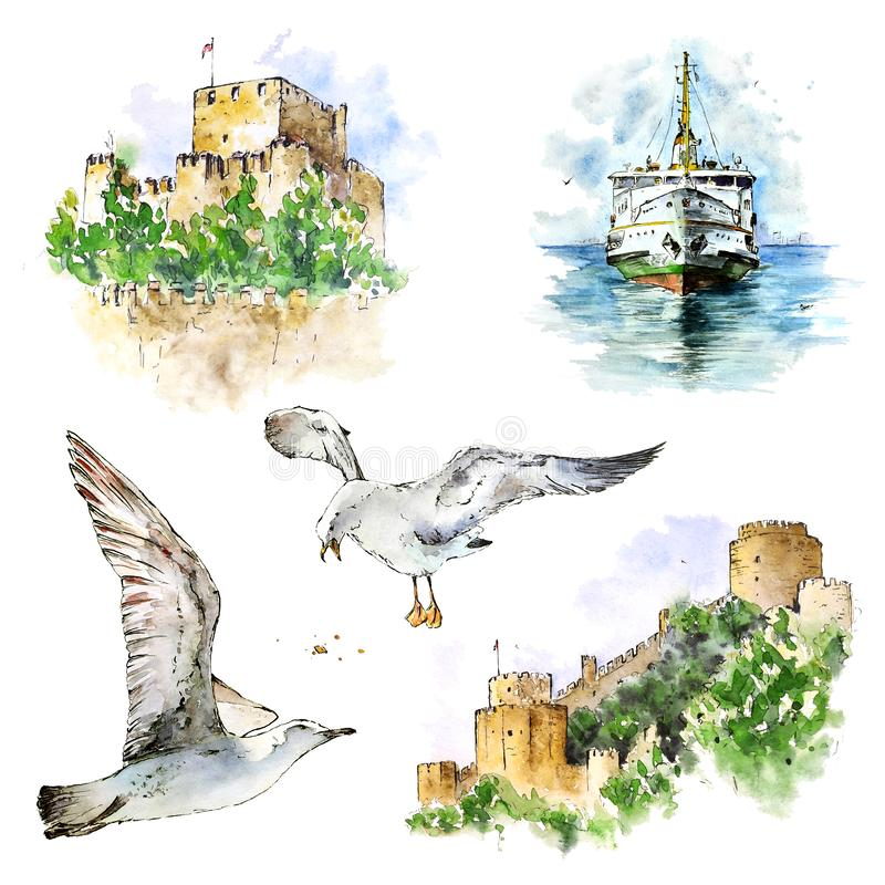 Watecolor ustawiający z kasztelami, promem i seagulls Istanbuł, R?ka maluj?cy elementy odizolowywaj?cy na bielu ilustracja wektor