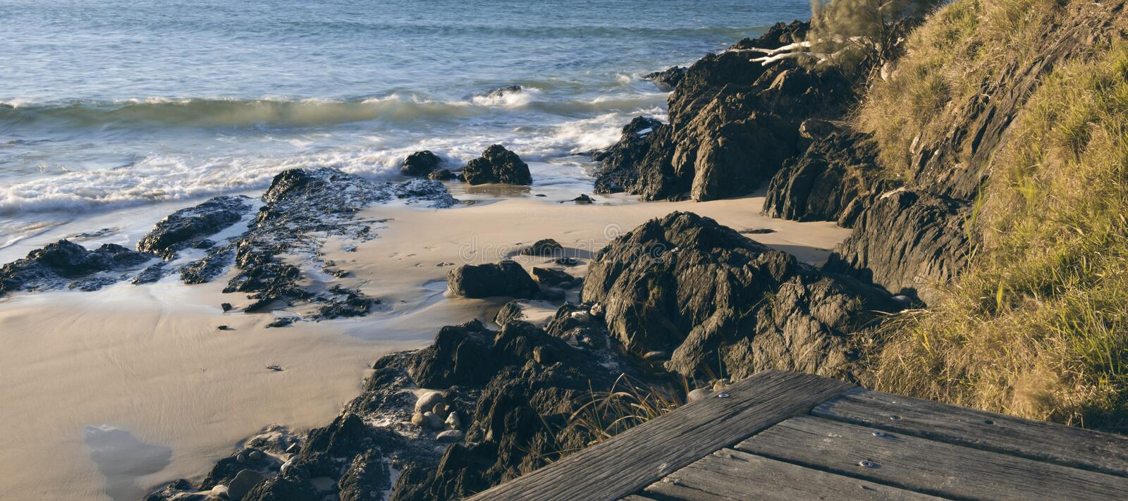 Wategos beach in Byron Bay. New South Wales in the late afternoon royalty free stock photo