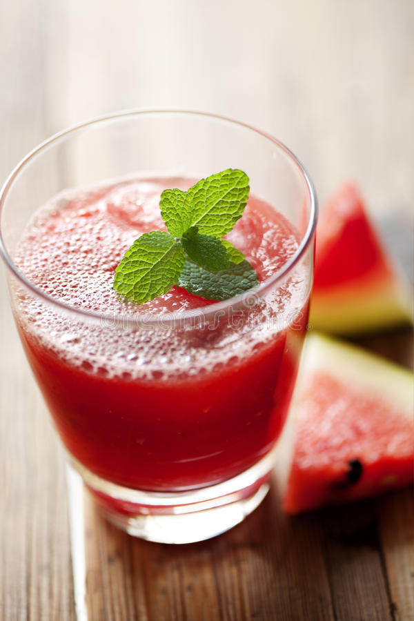 Watemelon juice. Fresh watermelon juice with garnish royalty free stock photo