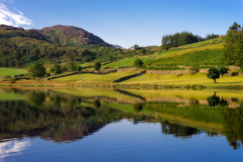 Watendlath Tarn. Reflections in Watendlath Tarn in Cumbria royalty free stock images