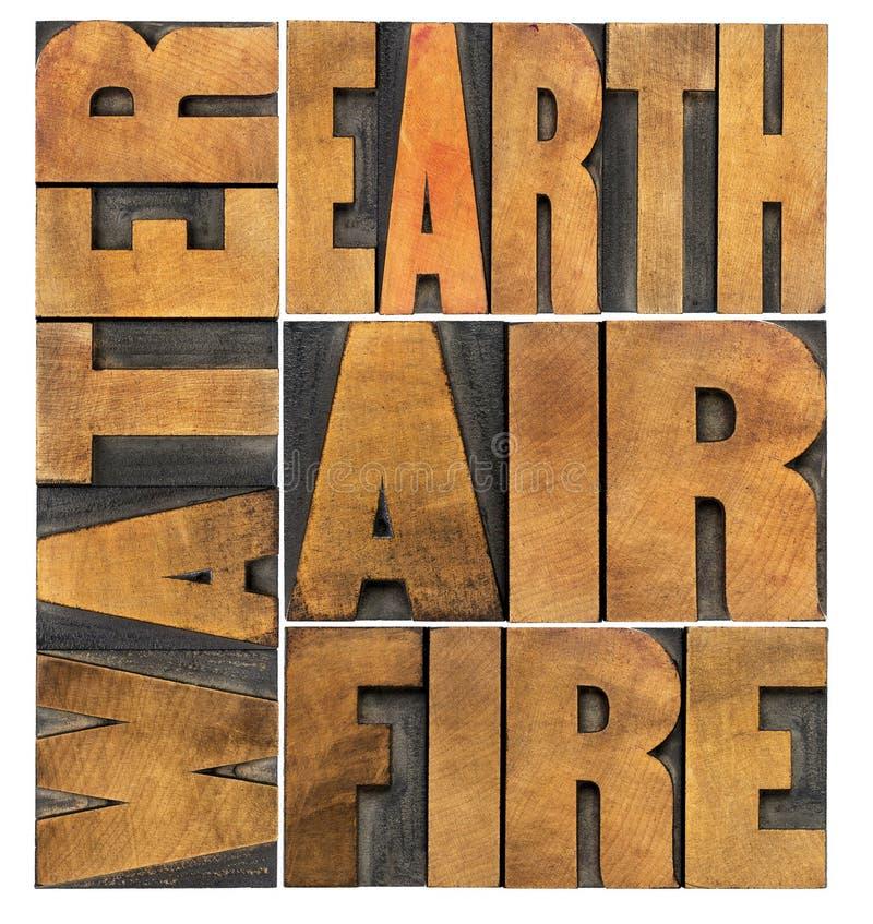 Water, aarde, lucht en brand royalty-vrije stock afbeelding