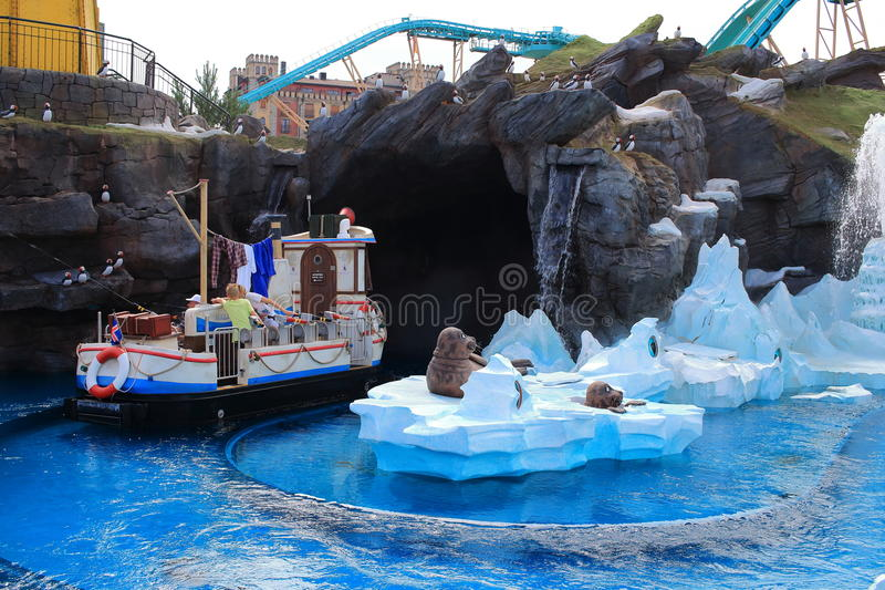 Water action kids fun Icelandic area. Kids having fun in the interactive boat ride Whale Adventures in the Icelandic themed area in Europa Park Rust, Germany royalty free stock image