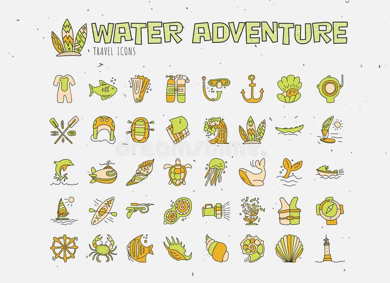 Water adventure vector hand draw icon set. Diving, rafting, kayaking and surfing icons in cartooning doodle style. Travelling adventure summer icon with stock illustration