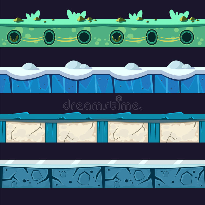 Free Water And Ice Platformer Level Floor Design Set Royalty Free Stock Photos - 69359158