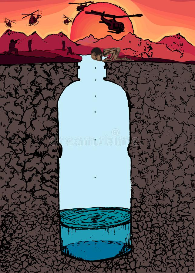 The water apocalypse. The water war stock illustration