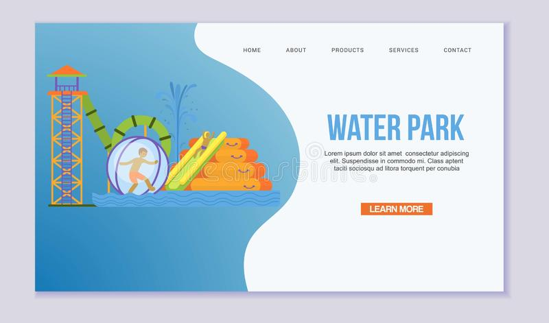 Water attraction or aquapark for kids with different water slides, hills tubes and pools vector web template. Blue and. Yellow waterpark attraction with child vector illustration