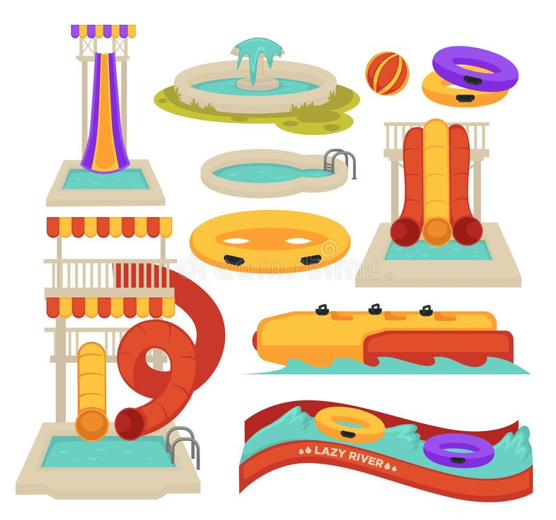Water attractions swimming pool slides and inflatable ring. Aquapark swimming pool slides and inflatable ring water attractions vector isolated objects spiral vector illustration