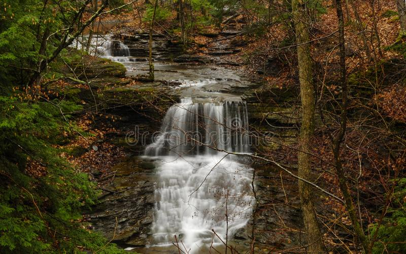 Water In Autumn In John Boyd Thatcher State Park In New York Sta. Upper Mine Lot Falls, John Boyd Thatcher State Park, New York stock image