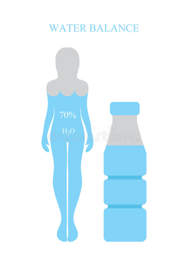 Water balance, human silhouettes. Healthy lifestyle concept. Vector. Vector. Water balance, human silhouettes. Healthy lifestyle concept royalty free illustration