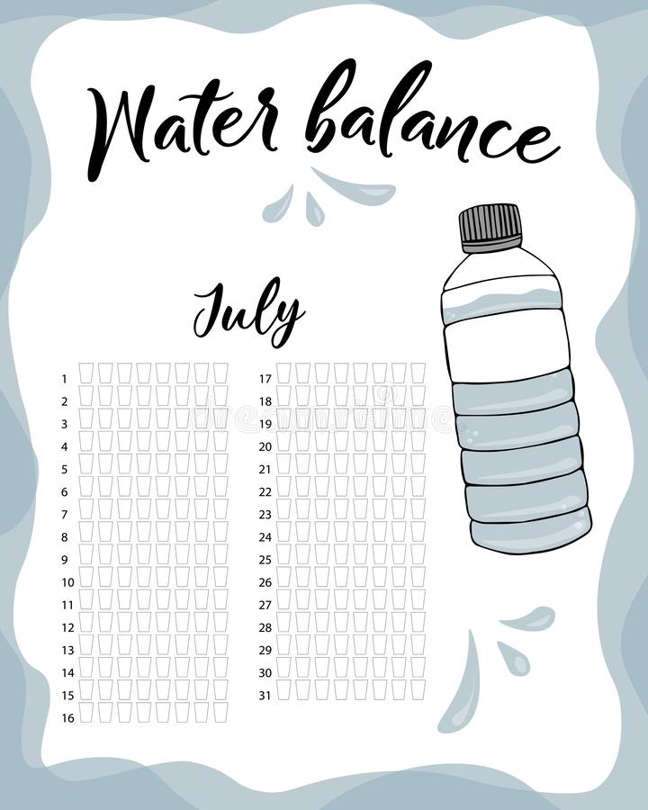 Water balance vector calendar. Water monthly tracker. Water consumption per week and month July stock illustration