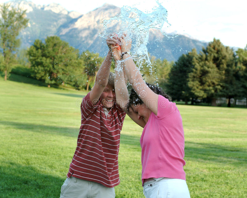 Water balloon bursting royalty free stock images