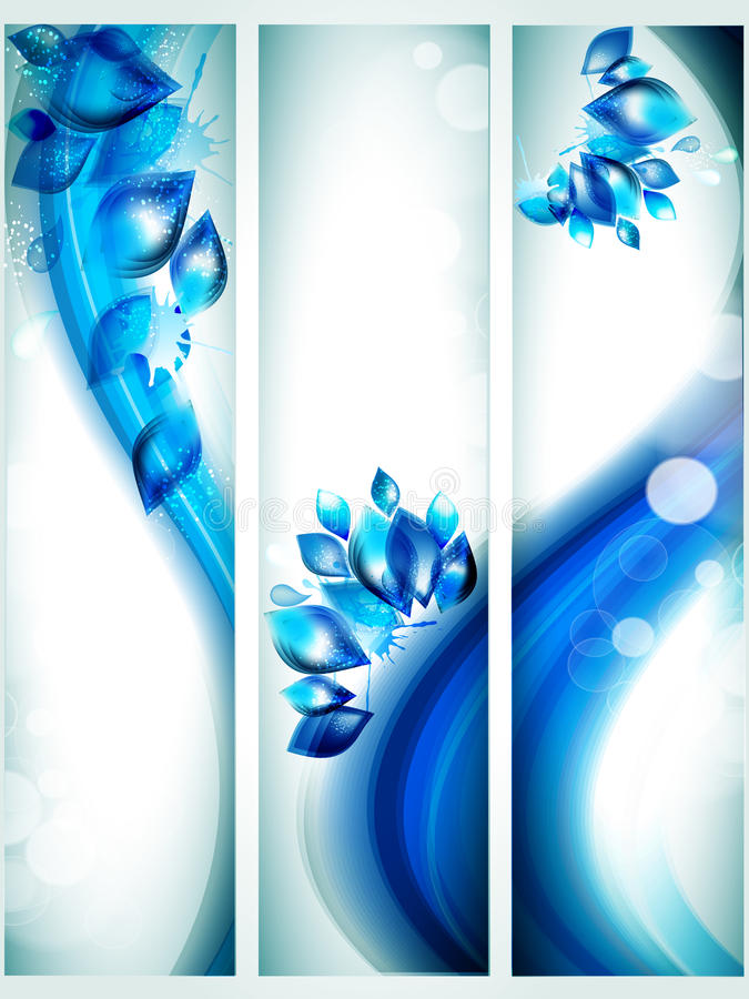Water banners with splash and glitter effects. royalty free stock photo