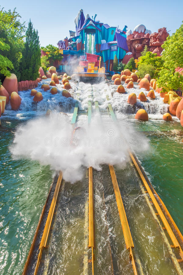 Water based ride at Universal Studios Islands of Adventure. ORLANDO,USA - AUGUST 24, 2014 : The Dudley Do-Right Ripsaw Falls ride at Universal Studios Islands of stock images