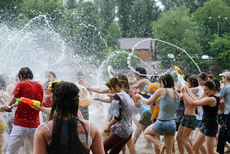 Download Water battle on Kiev beach editorial image. Image of contest - 31406575