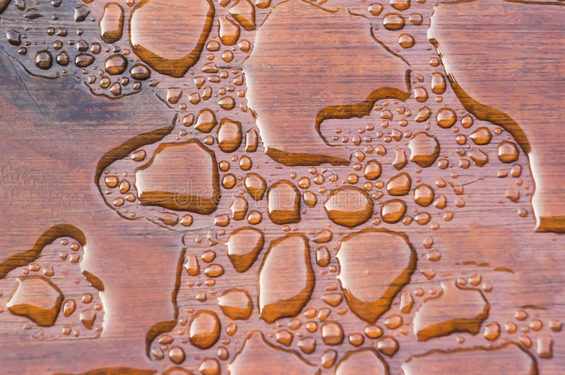 Water Beading on Freshly Sealed Deck stock image