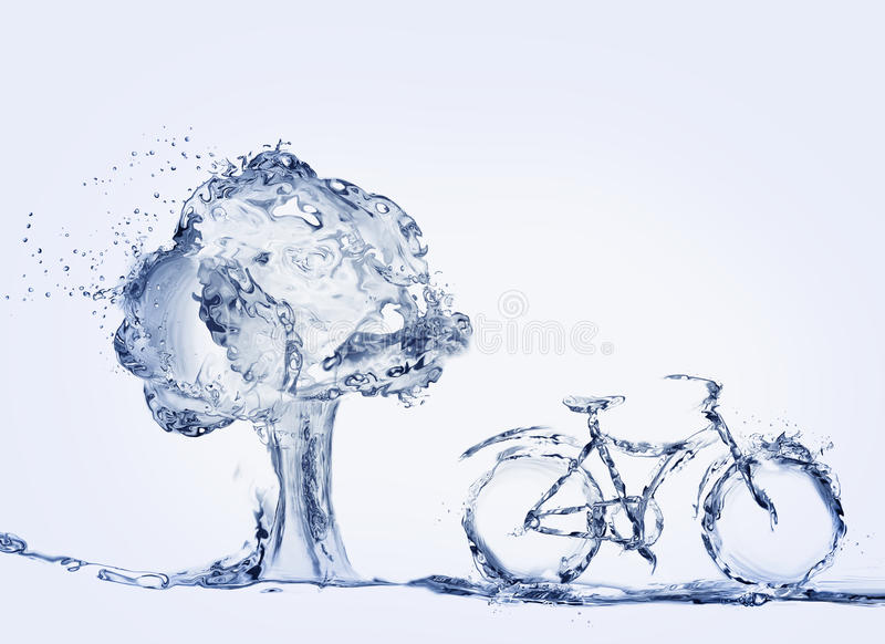 Water Bicycle and Tree. A bicycle made of water to represent environmentally-friendly transportation parked in front of tree