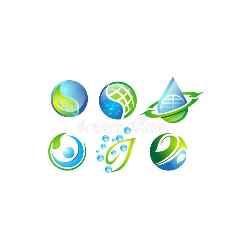 Water, blauw blad, groen, bol, cirkel, aarde, kringloop, gezond geïsoleerd in de vectorreeks van de voorraadillustratie