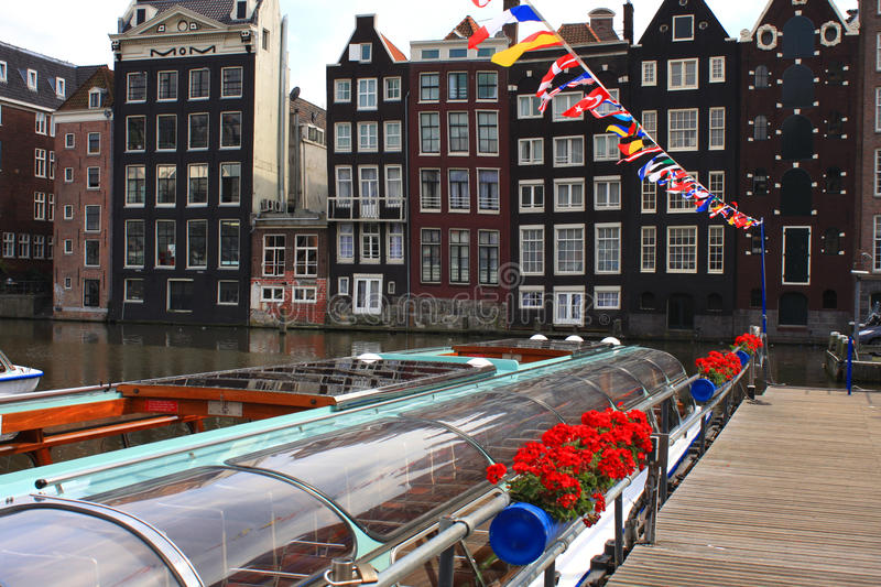 Water boats in amsterdam royalty free stock image