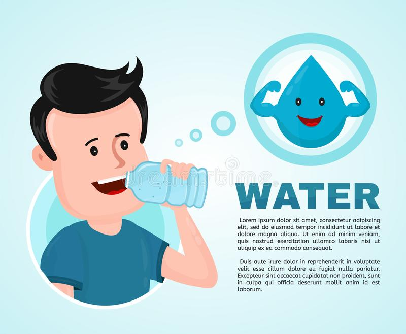 Water in body infographic. Young man vector illustration