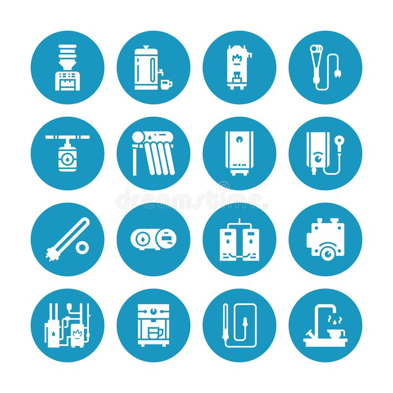 Water boiler, thermostat, electric gas solar heaters and other house heating appliances glyph icons. Equipment store vector illustration
