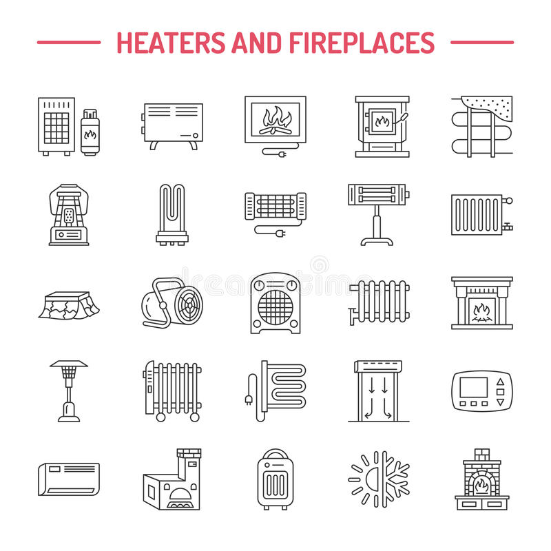 Water boiler, thermostat, electric gas solar heaters and other house heating appliances line icons. Thin linear vector illustration