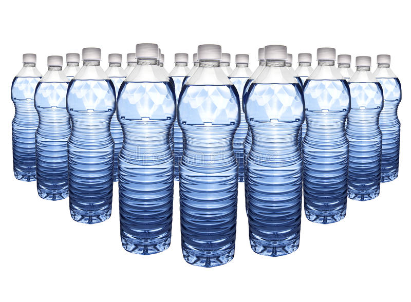 Water bottle. Several pastic bottles with blue water isolated on white stock images