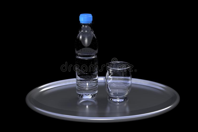 Water bottle and cup on dark background stock image