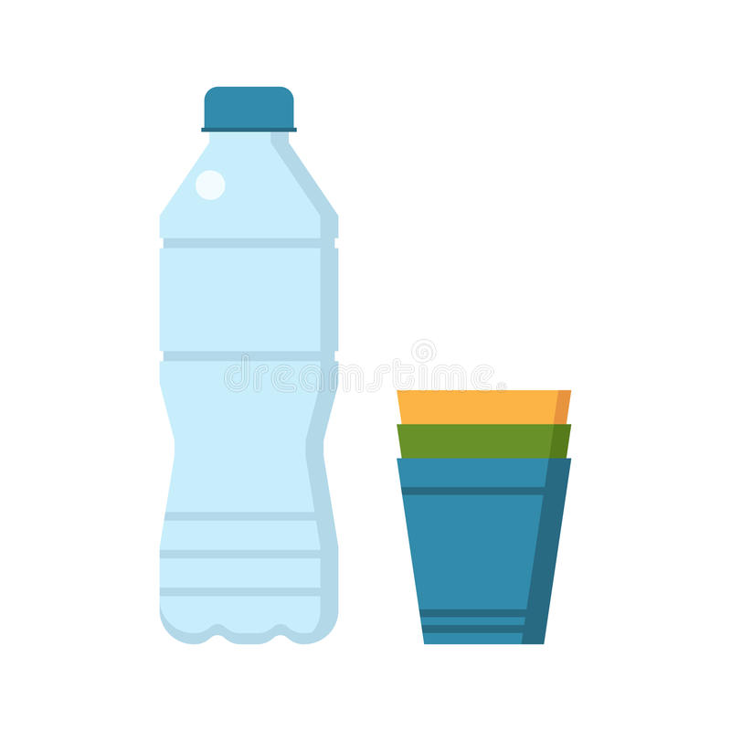 Water Bottle and Cups. Water bottle and colorful plastic cup set vector illustration royalty free illustration