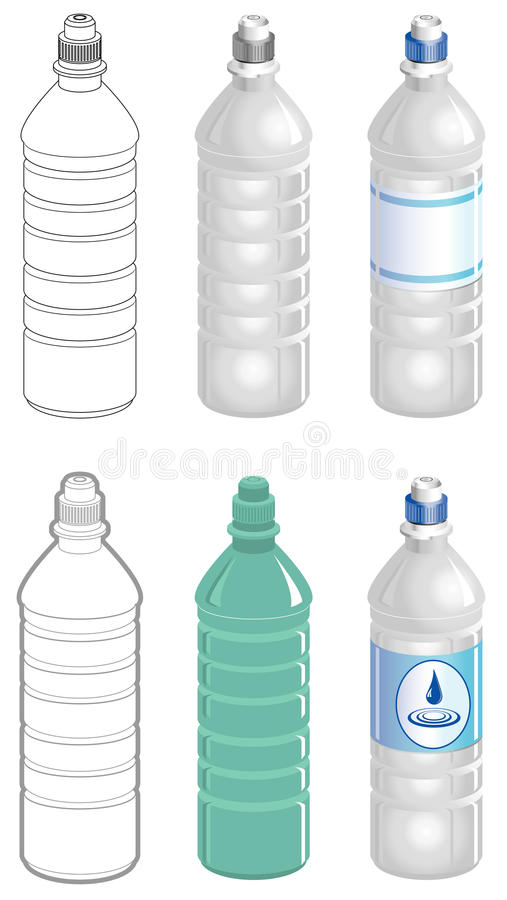 Water bottle in different styles vector illustration