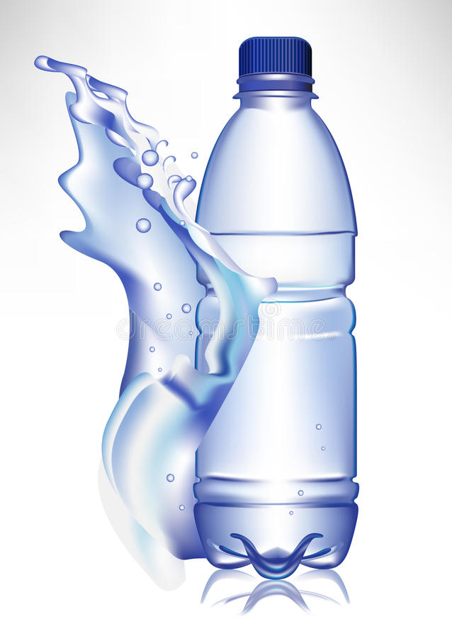 Water bottle in fresh water wave royalty free illustration