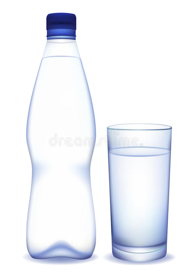 Water bottle and glass vector illustration