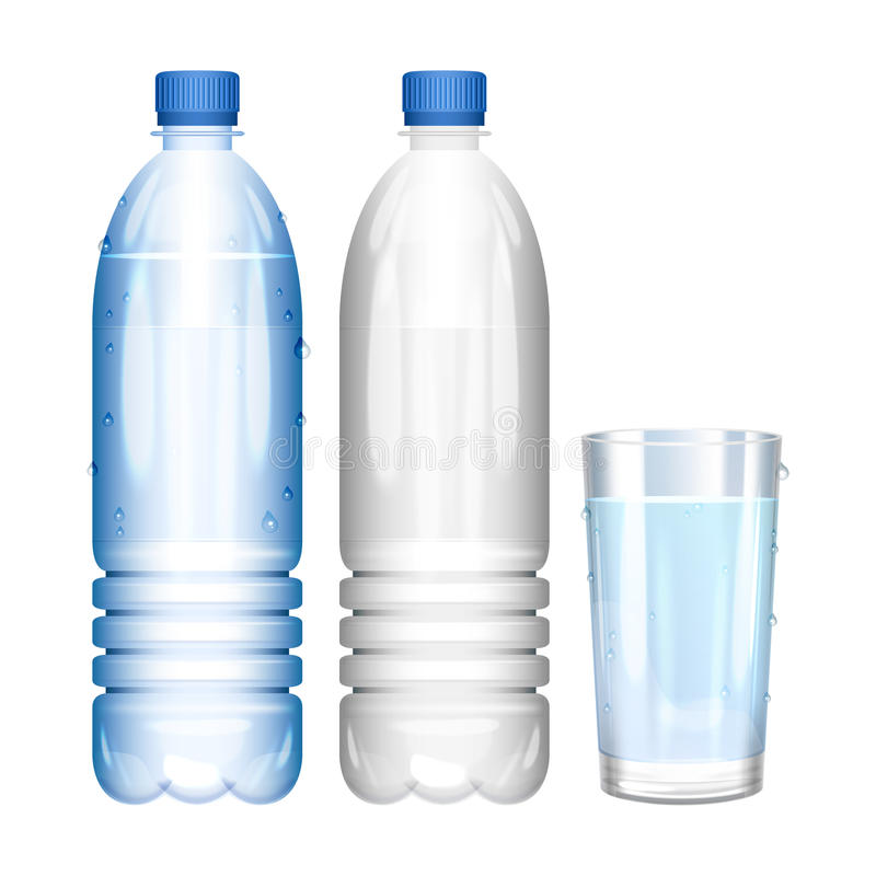 Water in bottle. Glass of pure water. Empty bottle. Vector vector illustration