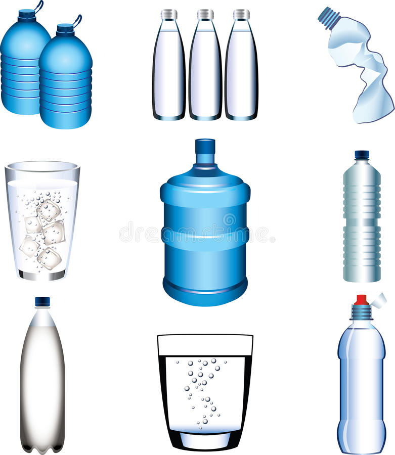 Water bottle and glasses photo-realistic set. Water bottle and glasses photo-realistic detailed set royalty free illustration