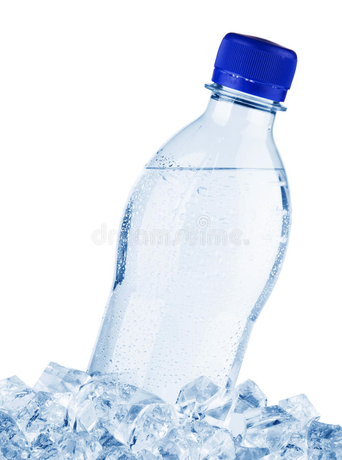 Water bottle in ice. Isolated on white background royalty free stock images
