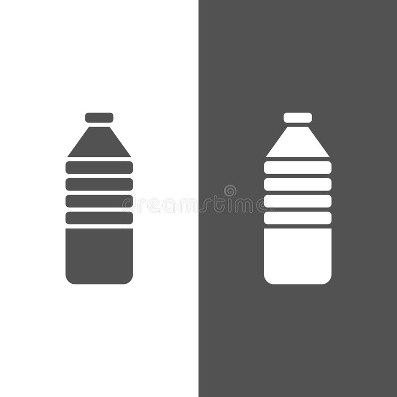 Water bottle icon. On black and white background vector illustration
