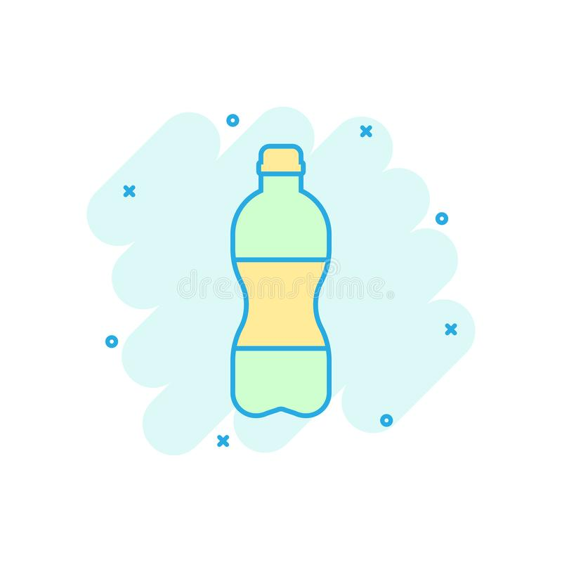 Water bottle icon in comic style. Plastic soda bottle vector cartoon illustration pictogram. Liquid water business concept splash. Effect stock illustration