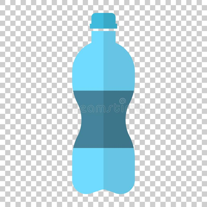 Water bottle icon in flat style. Plastic soda bottle vector illustration on isolated background. Liquid water business concept. stock illustration