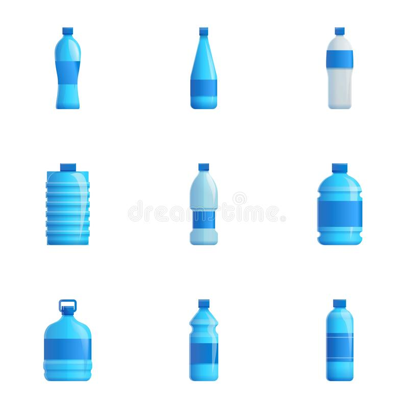 Water bottle icon set, cartoon style royalty free illustration
