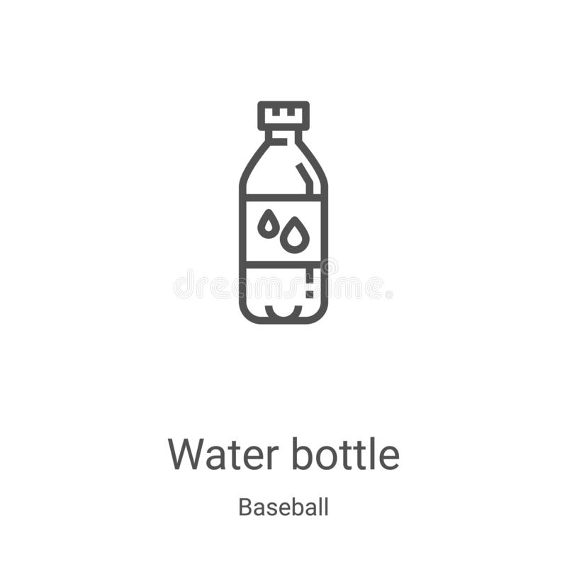 Water bottle icon vector from baseball collection. Thin line water bottle outline icon vector illustration. Linear symbol for use. On web and mobile apps, logo vector illustration