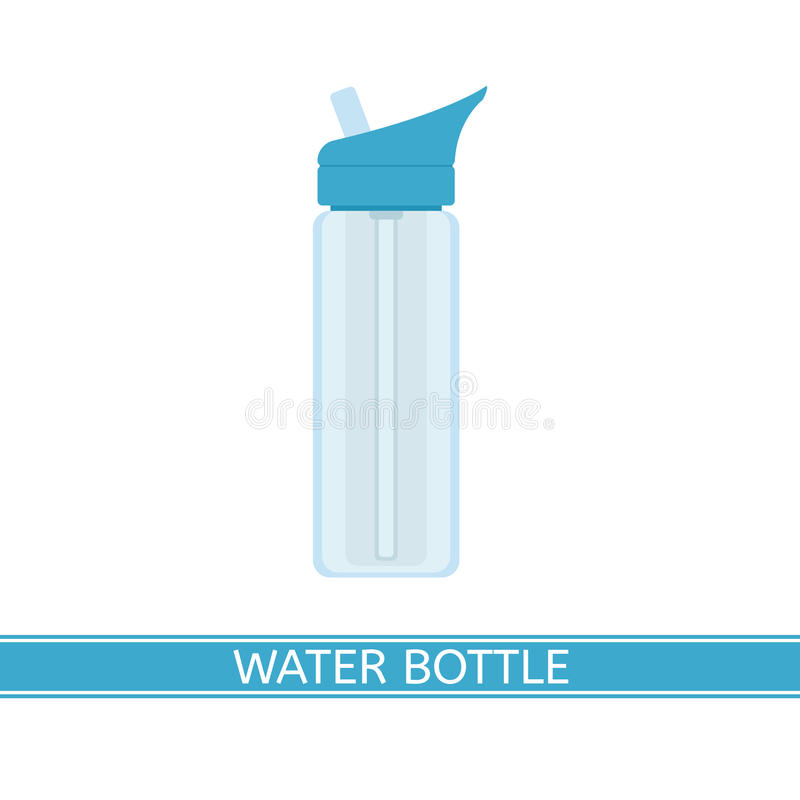 Water Bottle Icon. Water bottle vector icon for camping, sport, hiking, fishing, outdoor activities. Isolated on white background, flat style vector illustration