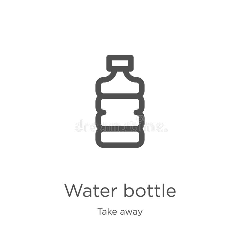 water bottle icon vector from take away collection. Thin line water bottle outline icon vector illustration. Outline, thin line royalty free illustration