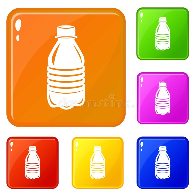 Water bottle icons set vector color. Water bottle icons set collection vector 6 color isolated on white background royalty free illustration
