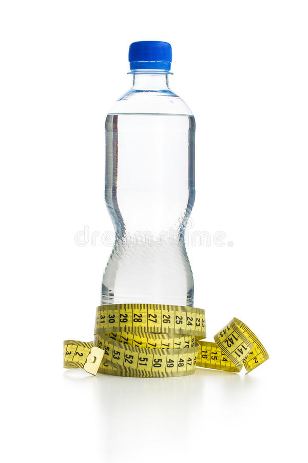 Water bottle and measuring tape. Isolated on white background stock photos