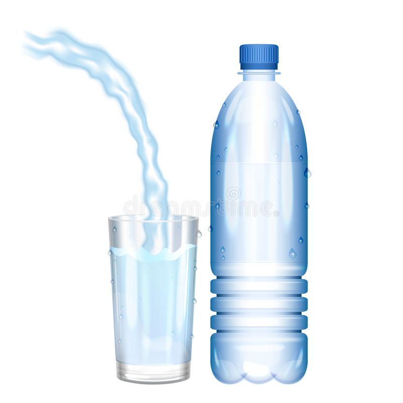 Water in bottle. Pouring water in glass. Vector illustration. stock illustration